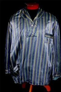 RARE-VINTAGE-1950-1960-039-S-EUROPEAN-BLUE-SATIN-RAYON-PRINT-PJ-TOP-SHIRT-SZ-XL-XXL