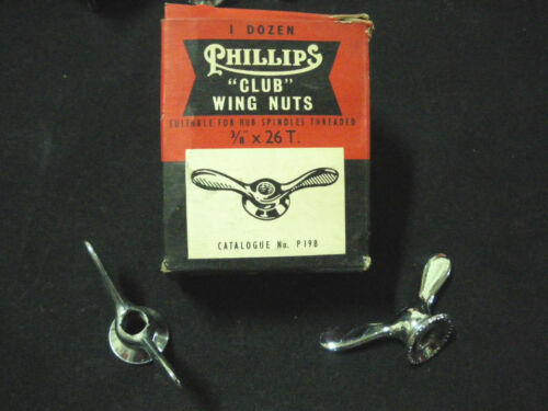 """RARE Vintage PHILLIPS Wing Nuts 3//8/""""x26T 1 pair for Front or rear hubs NOS 1950s"""