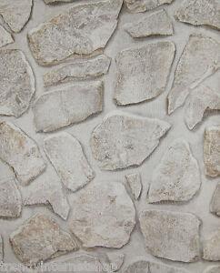 Steintapete beige grau  Tapete Steine Mauer Steinoptik Bruchsteine Steintapete beige grau ...