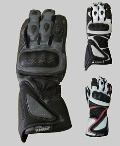 Ladies Gunmetal Motorcycle Leather Gloves for Sports Bike - Large 7.5inch around
