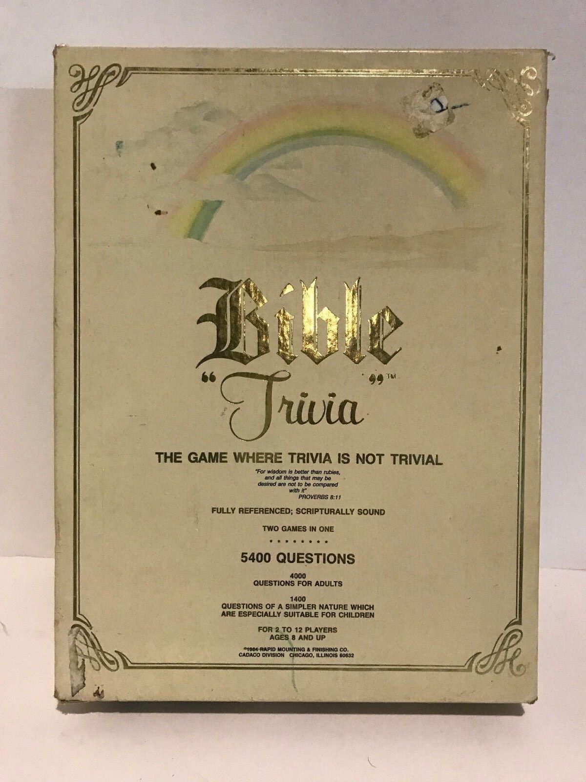 Bible Trivia Board Game 5400 Questions 1984 - Cadaco