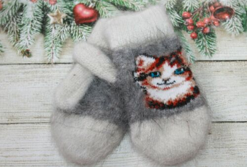 NEW Kids winter mittens homemade knitted goat down warm