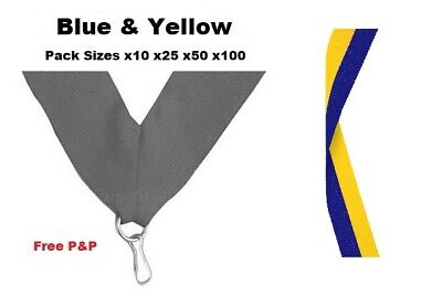 Creatief Blue & Yellow Medal Ribbons Lanyards With Clip 22mm Woven Packs Of 10/25/50/100