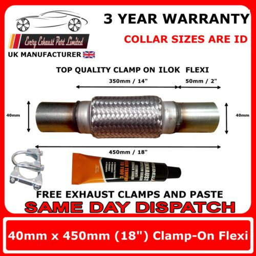 """40mm x 18/"""" 40mm x 450mm Exhaust Flexipipe Decat Pipe Clamp-on Flexi Joint"""