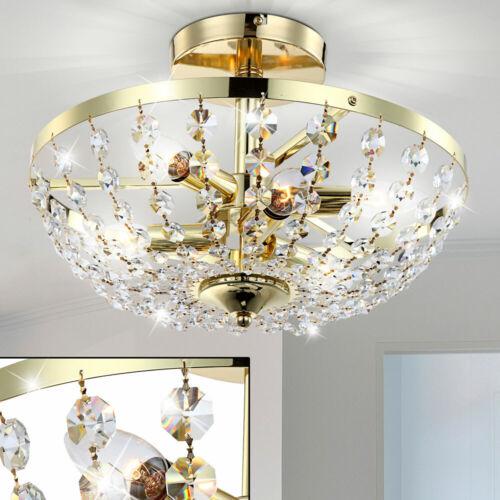 Luxus Decken Lampe Messing Glas Kristalle klar Wohnzimmer Schloss Beleuchtung