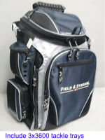 Gift Idea - Field & Stream Angler Backpack W 3 Large Fishing Tackle Trays Boxes