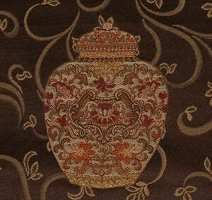 Image Is Loading 3 8 Yds Richly Embroidered Ginger Jar Chinoiserie