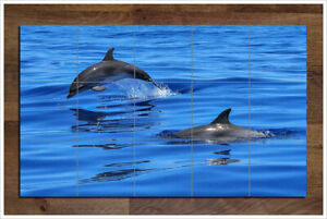 """dolphins ceramic tile mural 18"""" x 30"""" kitchen wall"""