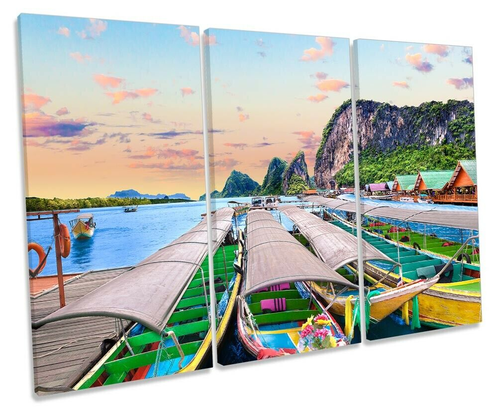Phuket Thailand Boats Print TREBLE CANVAS WALL ART Picture Multi-Colourot