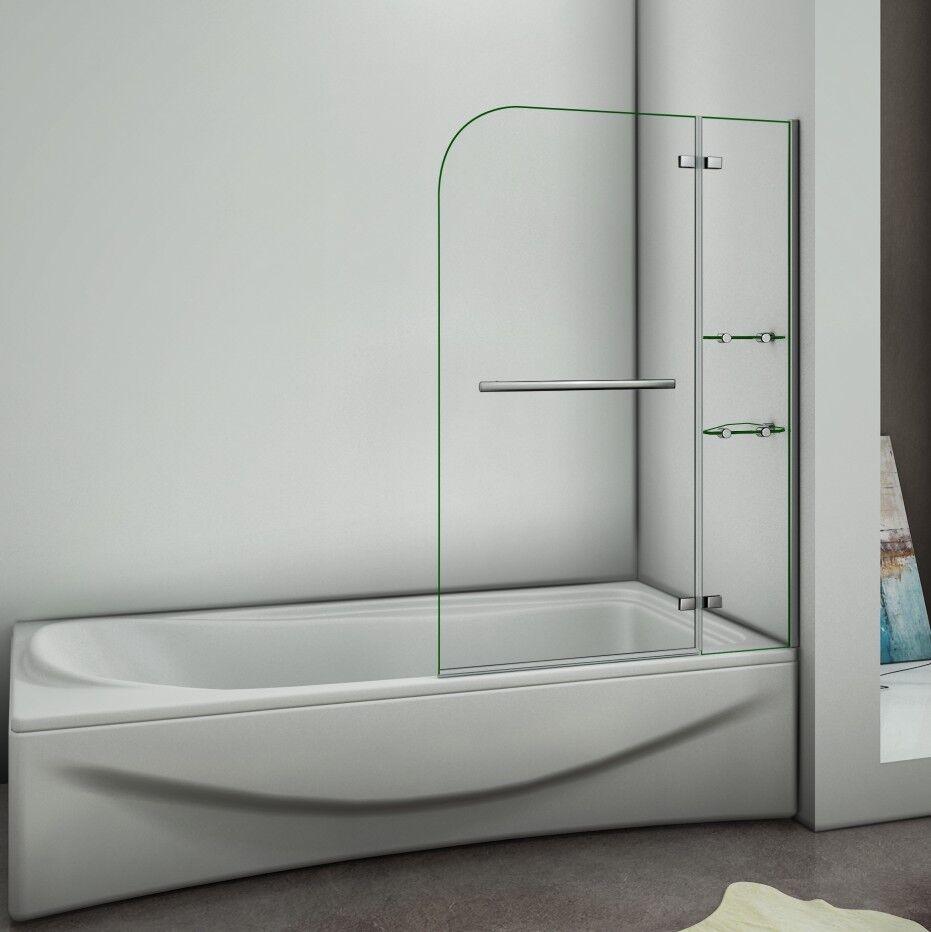 90 100 120cm Badewannenaufsatz Duschabtrennung Echtglas Duschwand Duschkabine