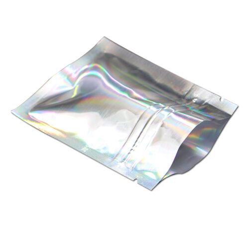 100X Silver Laser Ziplock Aluminum Foil Bag Heat Food Package Mylar Pouches Seal