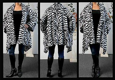 Plus size Zibra Print Asymmetrical Velboa Warm (Velvet)Swing Jacket Coat OSFA