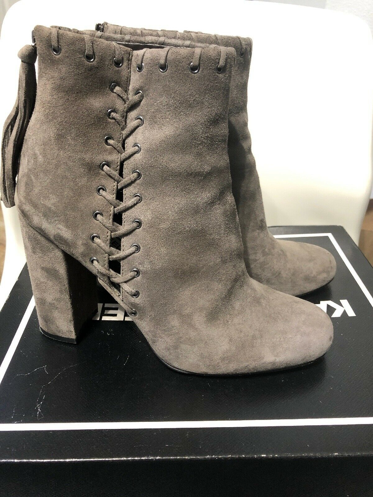Karl lagerfeld Suede Lace Boots Size 8 Women's
