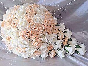 Bouquet Sposa Color Pesca.Pesca E Avorio Spose A Goccia Matrimonio Bouquet Cristallo Di