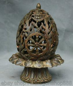 """8 """"Bronze Ware Tibet 8 Symbole de bon augure Brûleur d'encens Lotus Encensoir"""