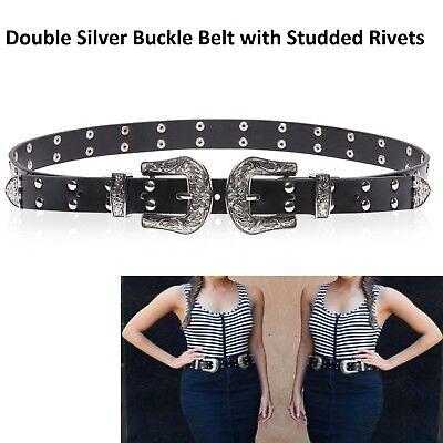 Trimming Shop Negro Estilo Vintage El/ástico Hebilla Doble Cintur/ón para Dama Mujer ni/ña Negro Small 30