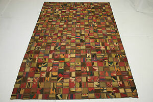 Patchwork-Vintage-Orient-Tapis-Kelim-rarement-300x200-marron-clair-Used-Look