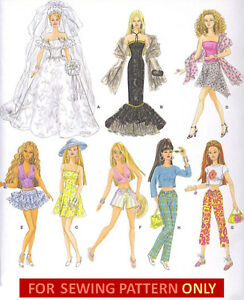 SEWING-PATTERN-MAKE-BARBIE-DOLL-CLOTHES-8-OUTFITS-BRIDE-DRESS-SKIRT-TOP-PANTS