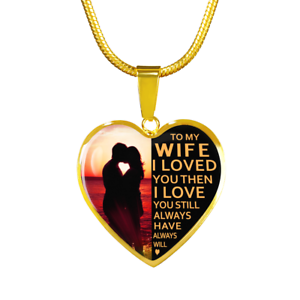 Details About To My Wife I Love You Luxury Gold Necklace Birthday Gift Husband Anniversary