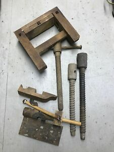 Antique Wooden Bench Vise Parts 4 Threaded Screws