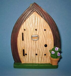 MINIATURE FAIRY GARDEN DOOR ~WOOD GRAIN LOOK FAIRY/GNOME ~ RESIN ~ FAIRY GARDEN