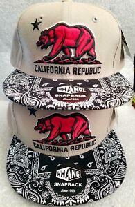 ccd5ec5d Details about Whang Snapback Hat California Republic Grey Hat Black Bandana  Bill Red Bear