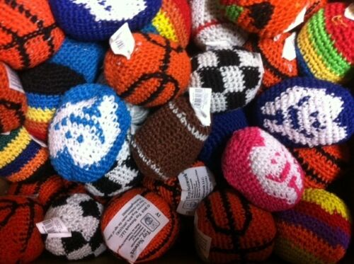 24 ASSORTED HACKY SACK KICKBALLS FOOTBAGS Woven Knitted #ST2 Free Shipping