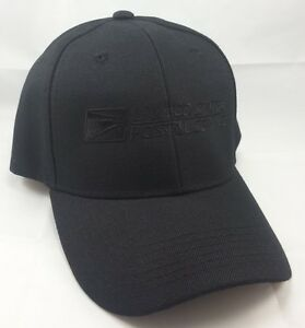 USPS Embroidered Baseball Hat Black w/ Black Embroidery / USPS LOGO2 Cap