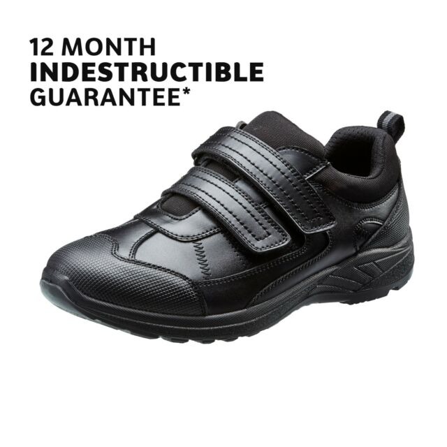 ba6106428ec00 School Shoes Boys Black Leather Touch Fasten 1yr Indestructible Guarantee  TREADS