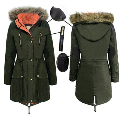 Girls Kids Hooded Fur Quilted Padded Parka Military School Jacket Coat 7-13