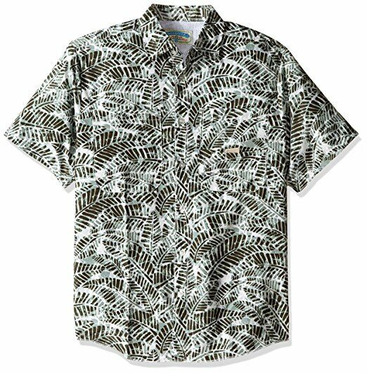 Margaritaville Men's Vented Camo Leaf Print Fishing Shirt Ivy Green Size Large