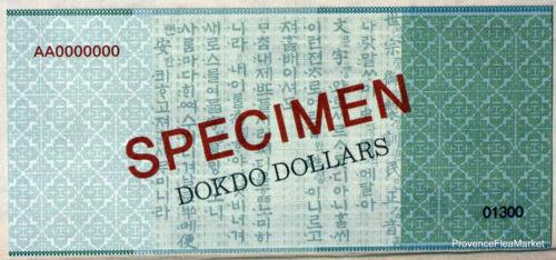 Korea South Dokdo Ticket from 1 Million Dollars 2013 Specimen