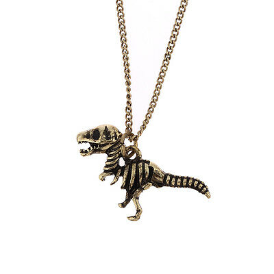 Vintage goth style bronze coloured dinosaur skeleton raptor charm necklace