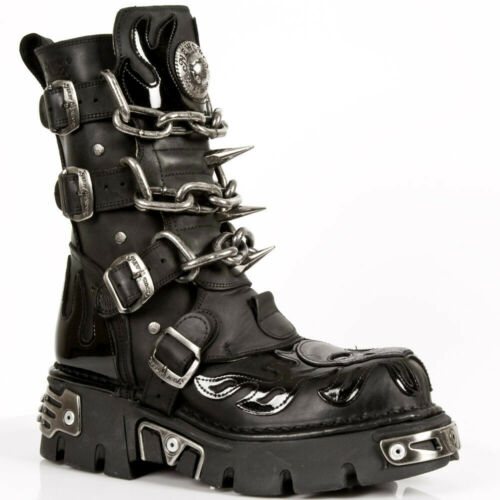 New Rock Boots M.727 S1 SKULL-FLAME-BOOTS REACTOR size US 8 1/2 (EU 42)
