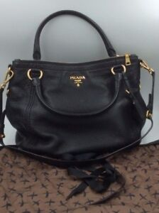 89805c1663ae USED Prada Milano Black 1818 Pebbled Leather With Brass Buckle Large ...