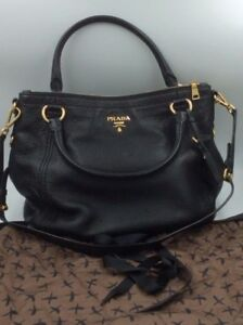Image Is Loading Used Prada Milano Black 1818 Pebbled Leather With