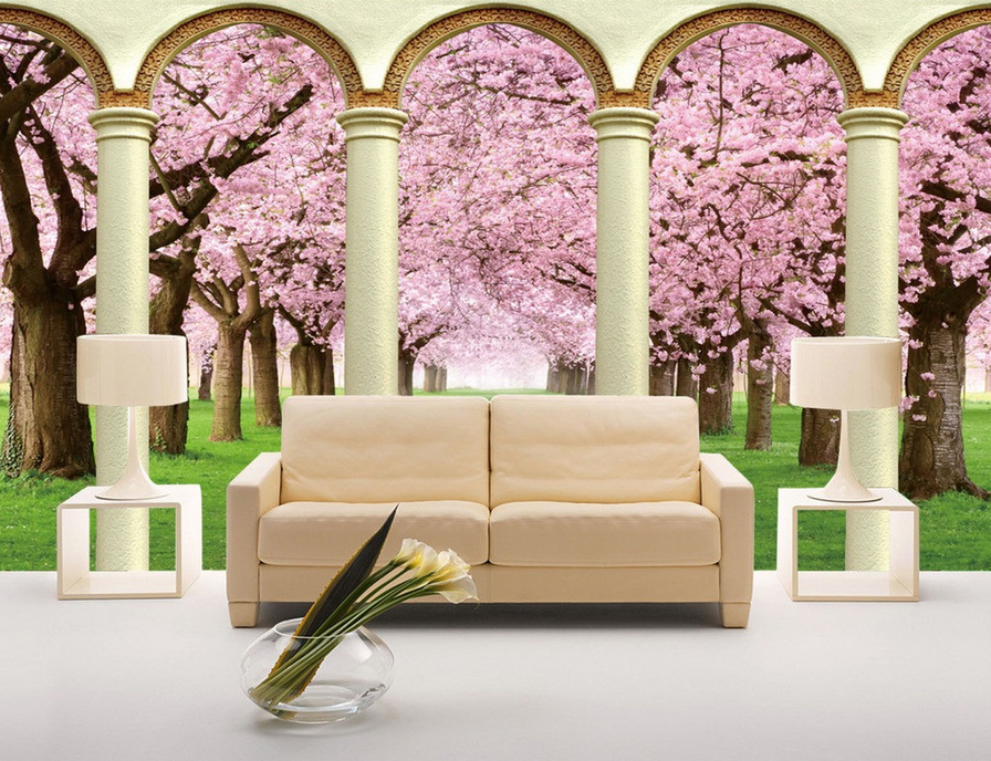 3D Trees Petal 4055 Wallpaper Murals Wall Print Wallpaper Mural AJ WALL UK Lemon