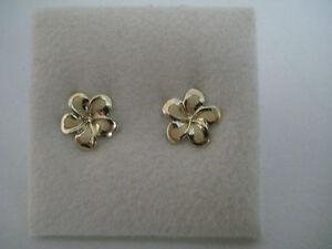 Boucles-d-039-OREILLE-EN-OR-JAUNE-9-carats-givre-brillant-FLEUR