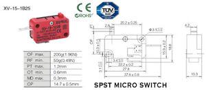7-5-A-250VAC-3-PIN-SPST-MICRO-SWITCH-IP40-protezione-perno-stantuffo-tipo-xv-15-1b25