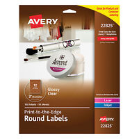Avery Round Print-to-the-edge Labels 2 Dia Glossy Clear 120/pack 22825 on sale
