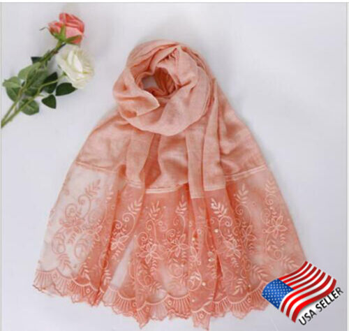 Women Embellished Cotton Scarf Peach Wrap with Beads Lace Solid Head Cover Pearl