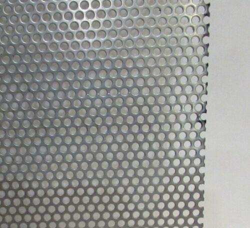 """1//8/"""" HOLES--11 GA 1//8/"""" THICK 304 STAINLESS STEEL PERFORATED SHEET  12/"""" X 12"""