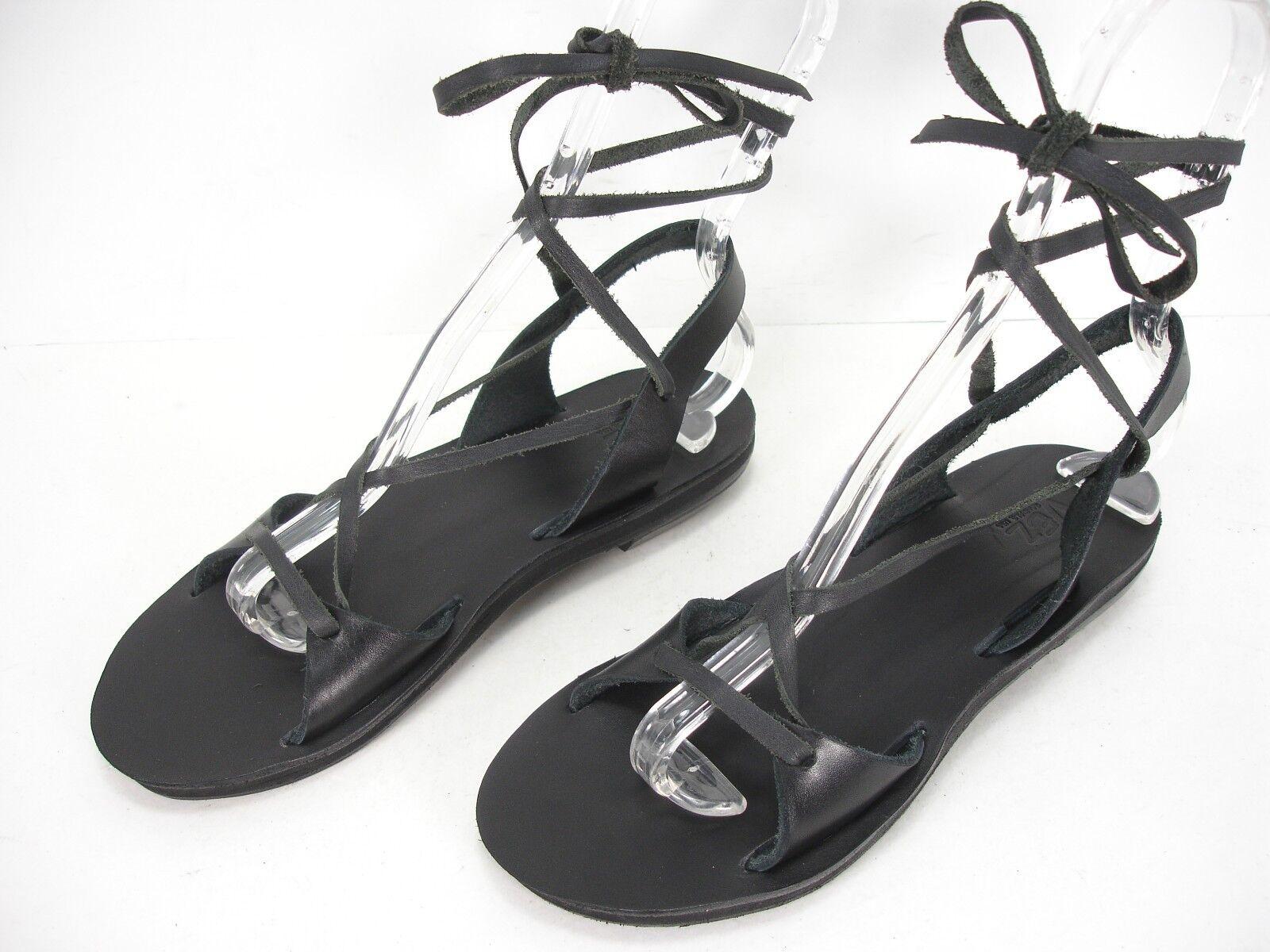Nuevo Sandalias Sandalias Sandalias de EE. UU. hecho a Mano Cuero Negro vez Puntera Abierta con Cordones Sandalias De Mujer 8  alta calidad y envío rápido