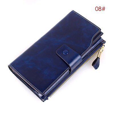 Women Vintage Genuine Leather Wallet Long Bifold Money Card Holder Clutch Purse