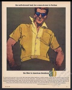 9ddd017431fbf Details about 1965 Bob Peak art American Bemberg men s shirt fashion  vintage print ad