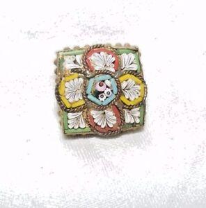 Antique-Italien-Micro-Mosaique-Carre-Broche-Epingle-Bon-Etat