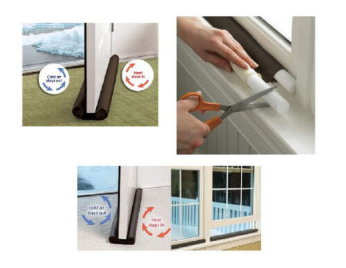 Home Insulation Twin Draught Guard for Doors//Window Keeps Heat In and Cold Air
