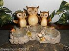 Yankee Candle OWL TEA LIGHT HOLDER Fall/Autumn Leaves Acorn GIVE A HOOT Tealight