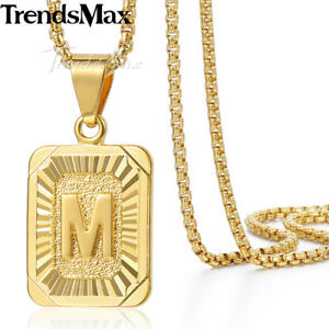 Mens women chain gold plated pendant necklace square initial letter image is loading mens women chain gold plated pendant necklace square mozeypictures Gallery