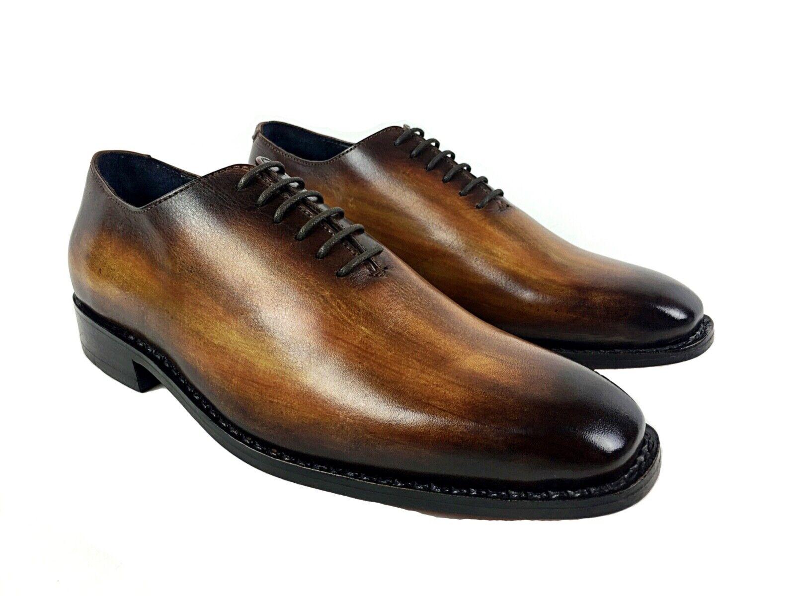 Zapatos de piel para hombre fabricación goodyear welted patina cognac 7UK-41